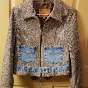 Guess Vintage Blazer Grey and Denim Size M